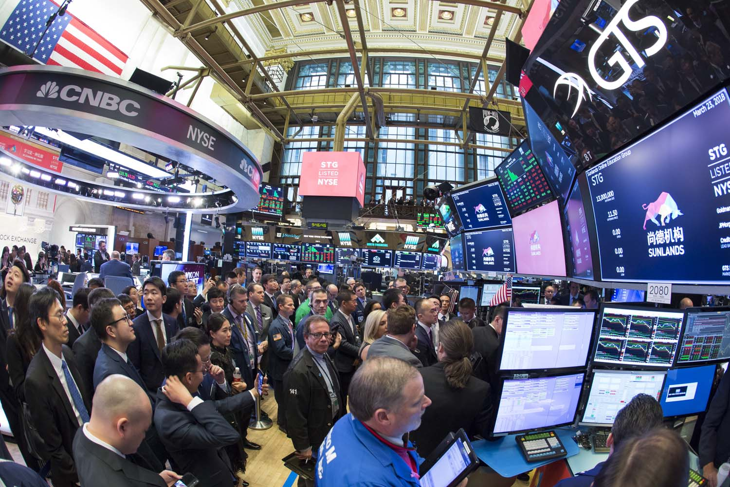 Fisheye view of the trading floor