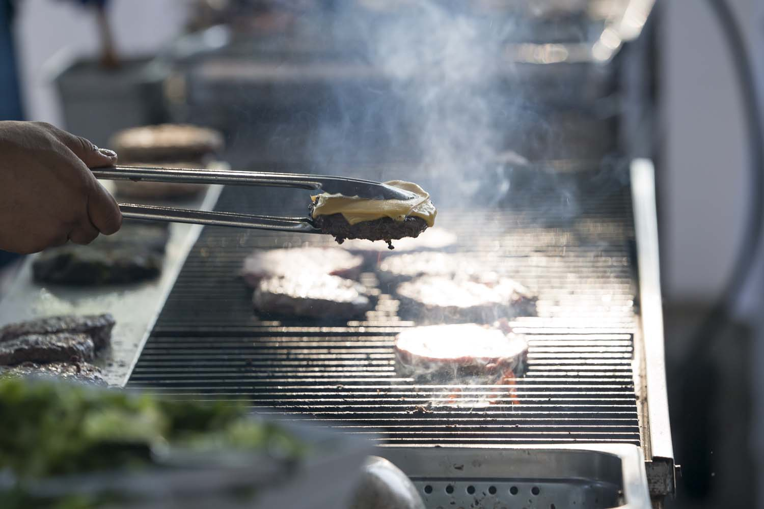 Burger Flipped over grill