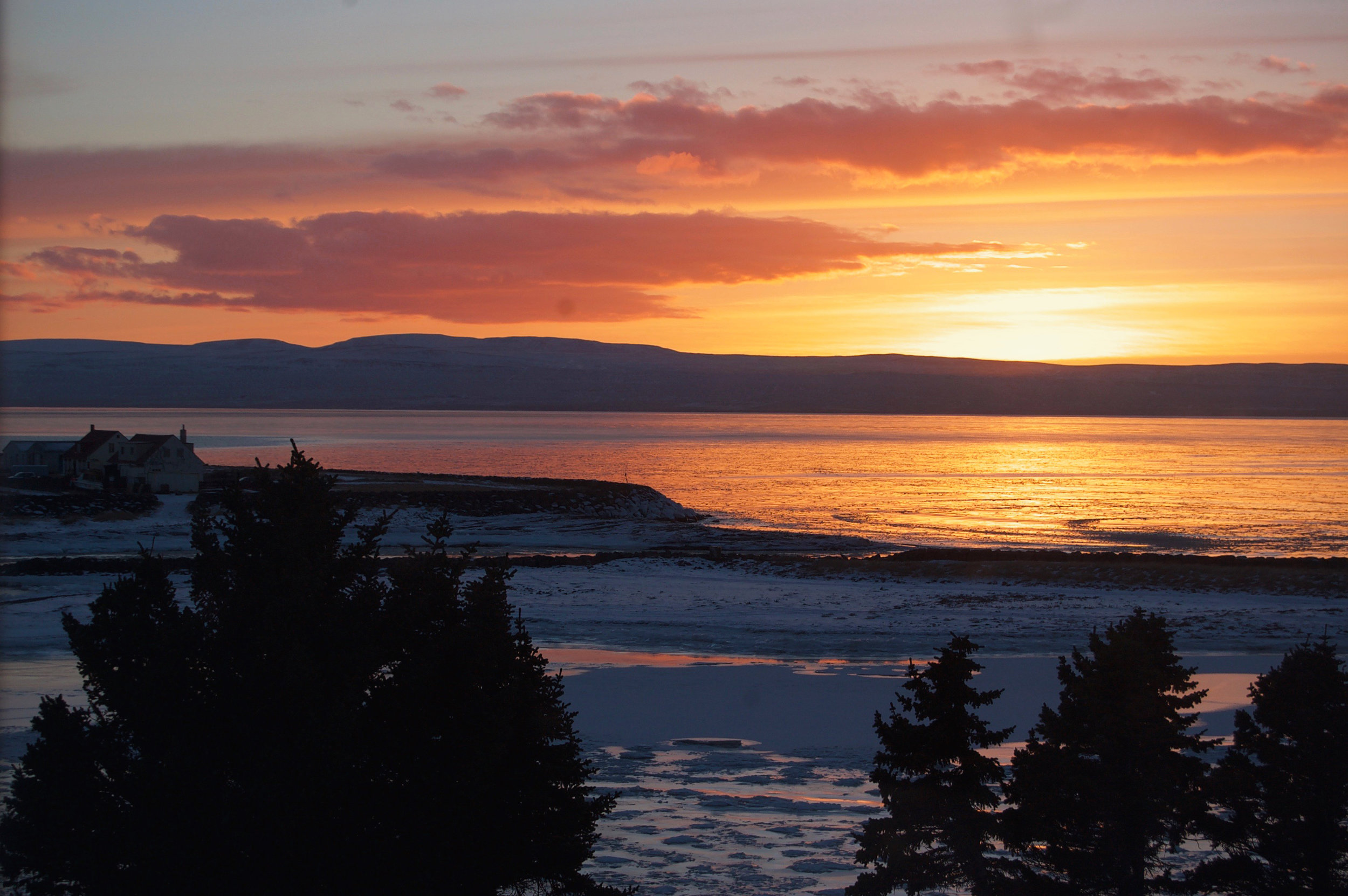 Sunset, view from my window at the Textile Centre -Blönduós, Iceland.