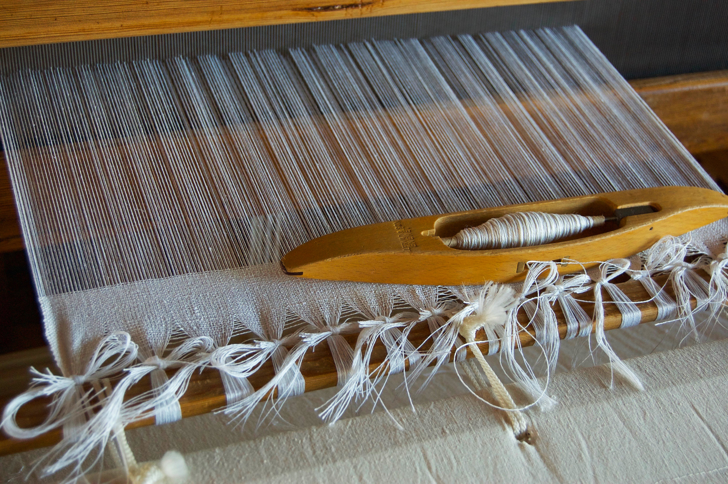 A weave in progress, can't take credit for this other than the picture, my weaving knowledge is rather minimal at this point -Blönduós, Iceland.