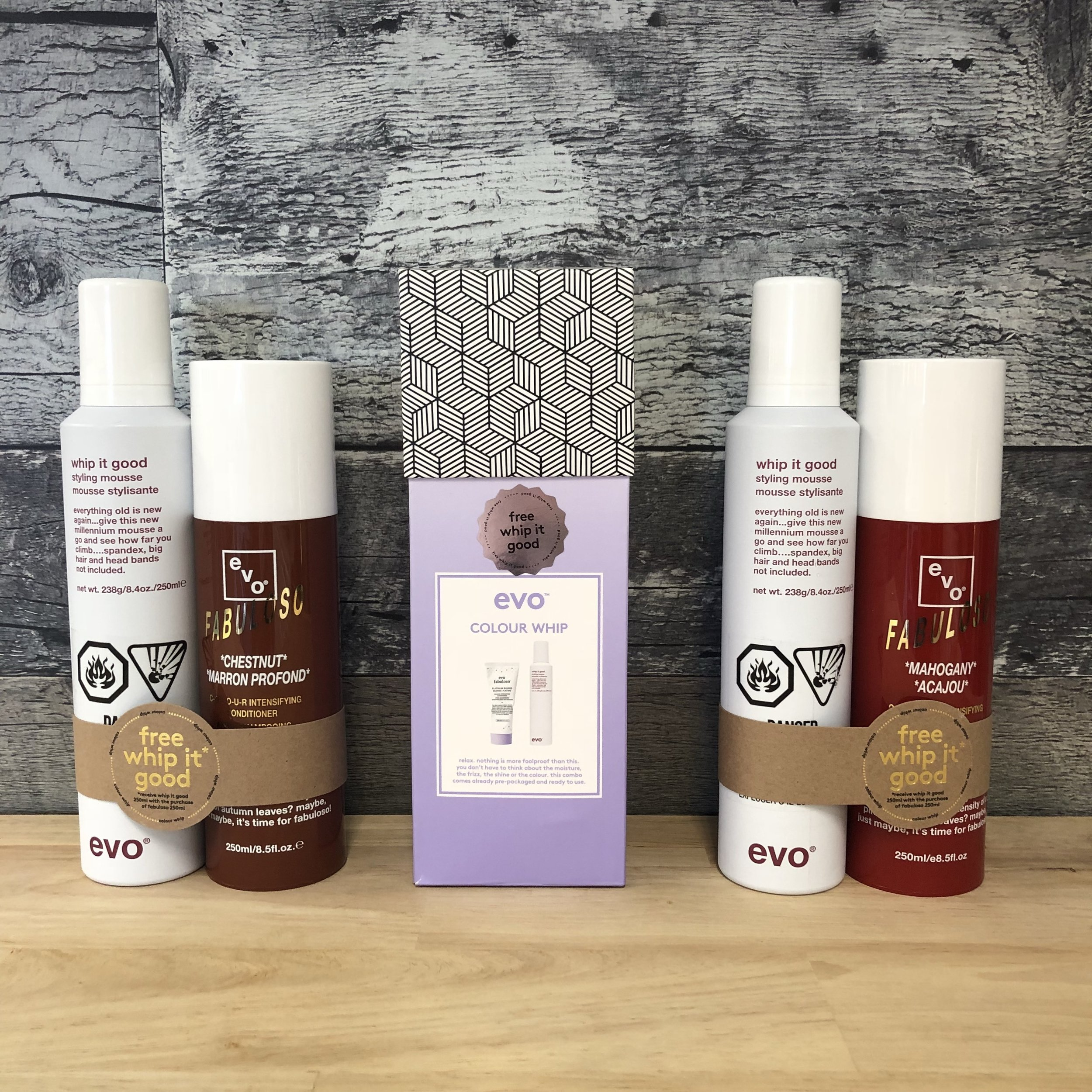 Fabuloso Packs - This must be the best deal we have this season. Buy an evo Fabuloso conditioner in Platinum, Mahogany, or Chestnut and receive a free evo Whip It Good styling mousse. If you don't know about the evo Fabuloso line, these are conditioners that have actual colour pigment in them so that when you wash your colour-treated hair, you re-tone it with the conditioner all from the comfort of your own shower. These conditioners can be key to making your colour last. The Whip It Good mousse is a rich moisturizing foam with high shine and low hold. Good for enhancing curls or waves, it also smooths by preventing frizz.