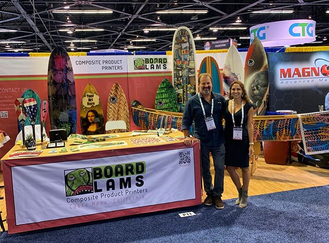 Hanging with Boardlams at the CAMX show in Anaheim. Thanks @boardlams for letting us display a boat and for all the sweet graphics and design work. #mtcanoes #boardlams #compositecanoes #customcanoe #handmade #camx