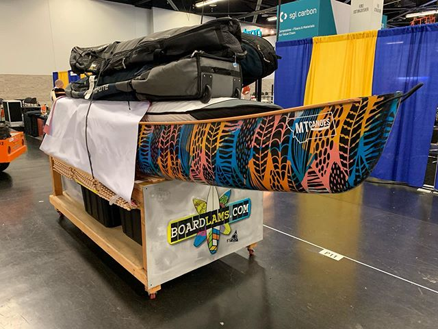 All loaded after the CAMX show! @boardlams best booth award (self awarded) Thanks everyone for stopping by and thanks @boardlams for inviting us! #mtcanoes #boardlams #compositecanoes #camx #surfcanoe