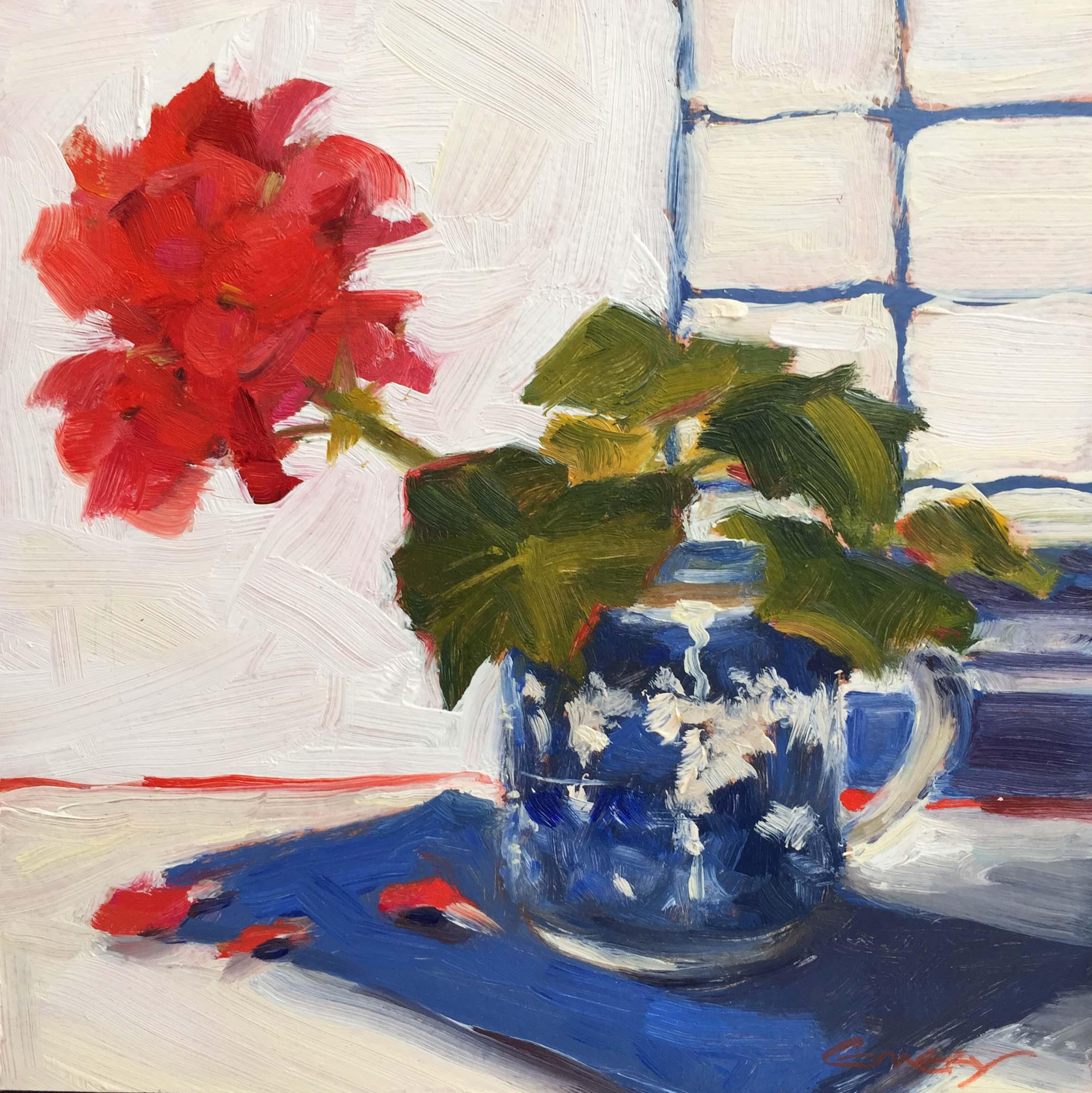 Red Geranium in Cup