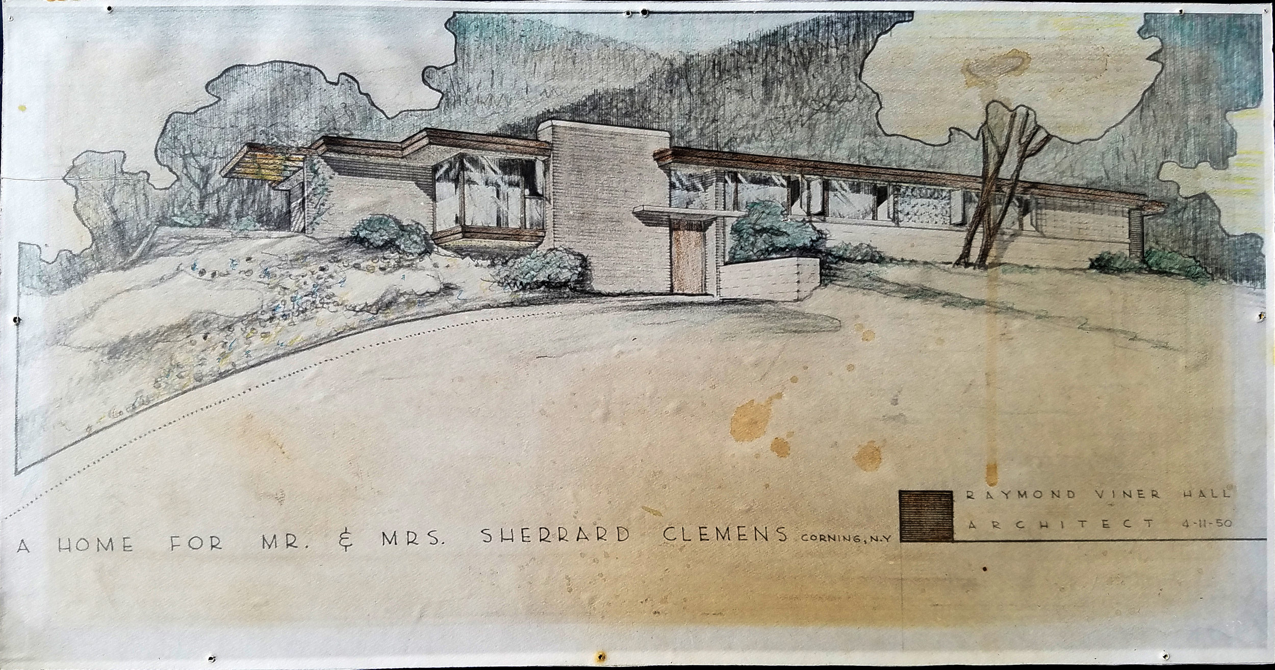 A copy of the original hand drawn rendering.