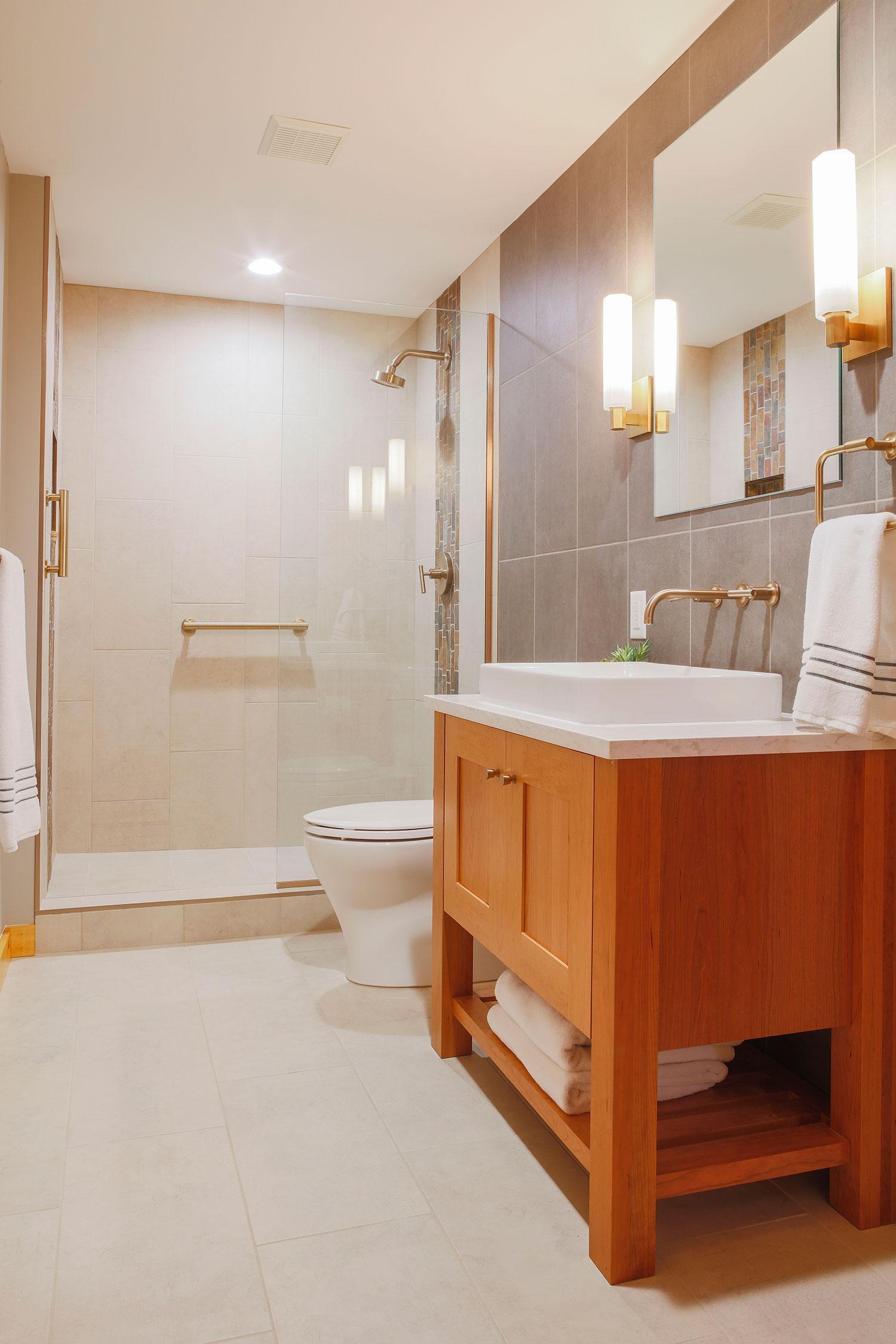 Guest bath, with glass door shower.