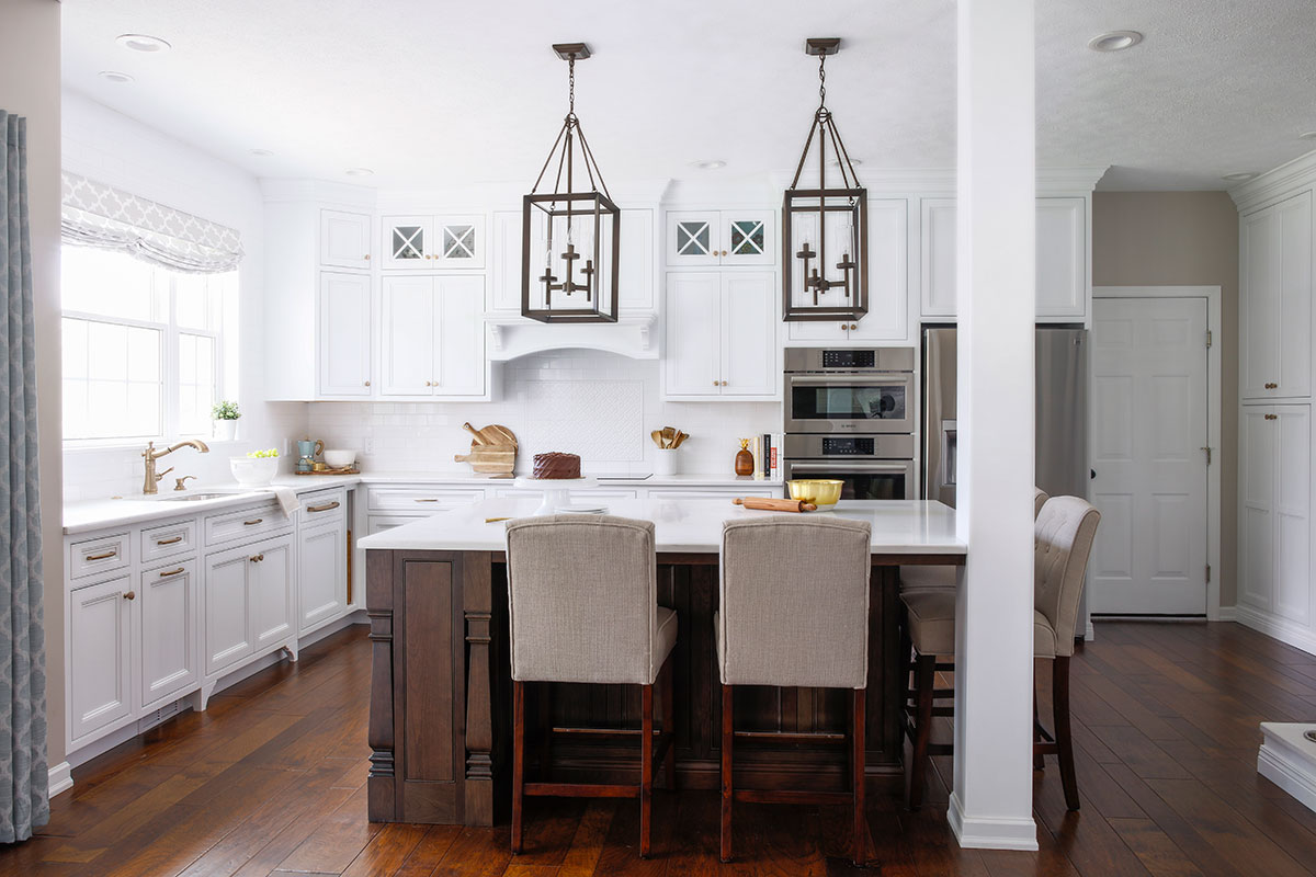 warm traditional kitchen overview