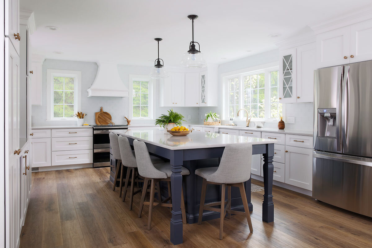 White kitchen with Blue Island overview