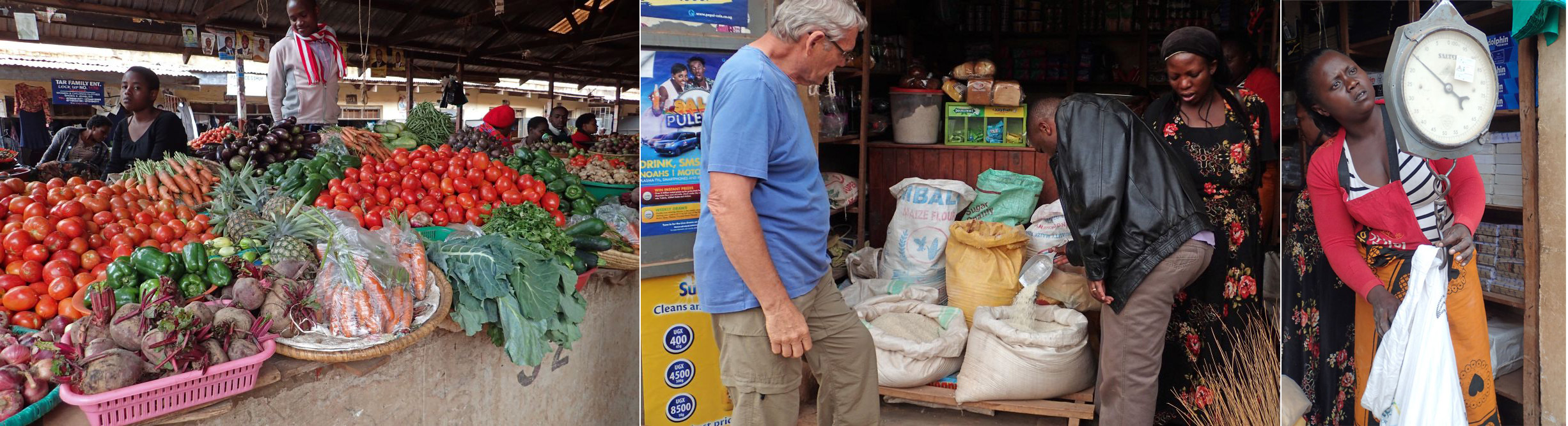 Produce area of market; Choosing our rice; Weighing out groundnuts.