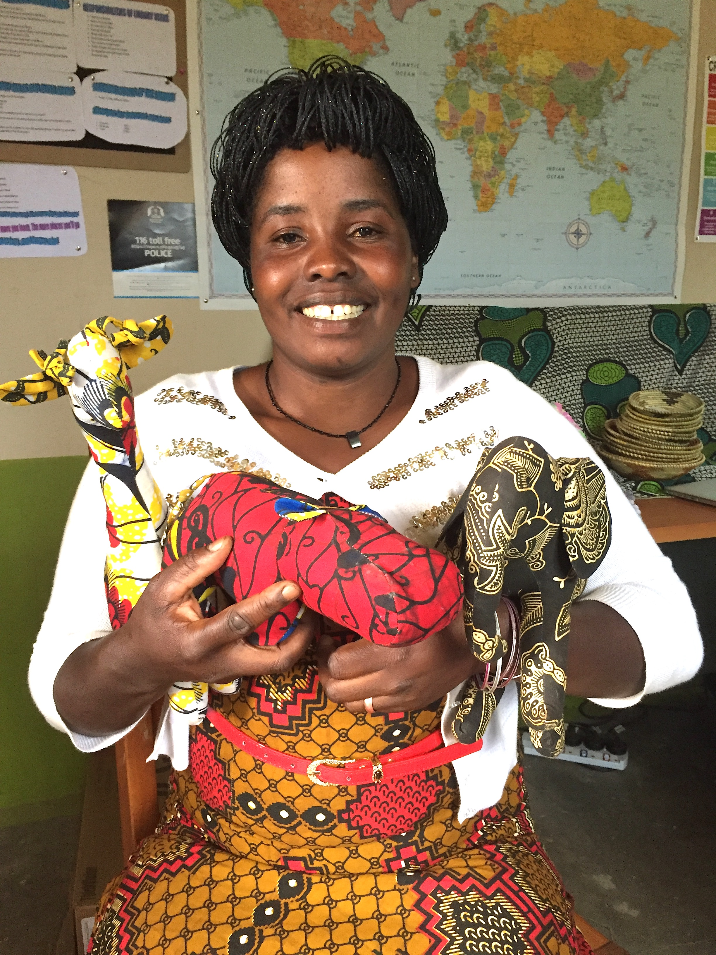 Phoebe (pronounced Foib) is our Quality Sewing Manager and happens to be Josiah Nankunda's wife.