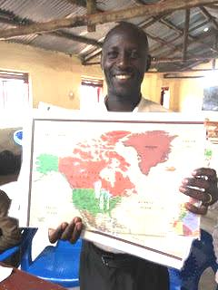 Teacher with Global Map