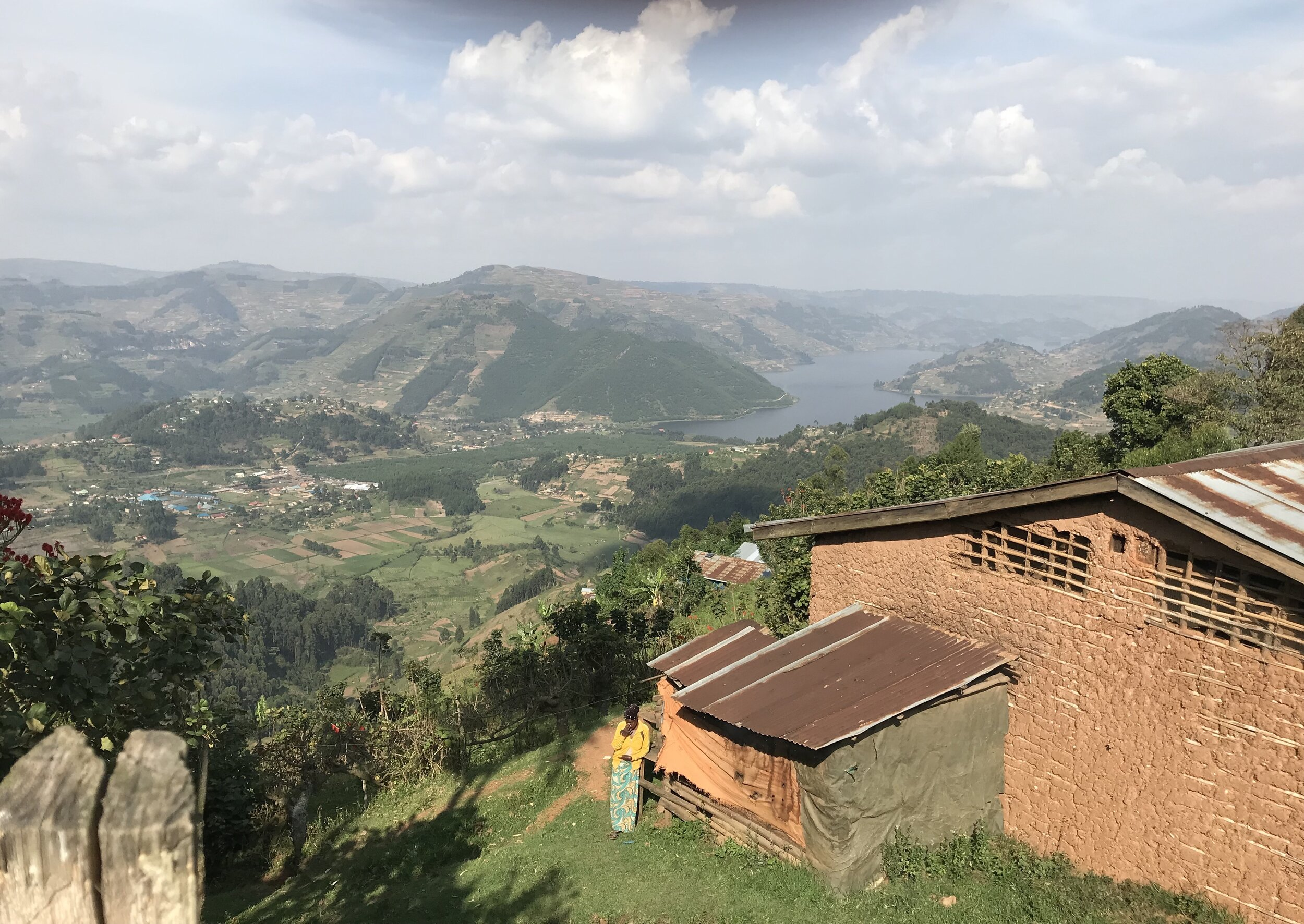 A view of beautiful Lake Bunyonyi from the mountain.