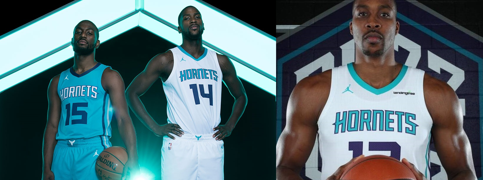 (Left)  This is how the jerseys were supposed to look. Clean AF  (Pictured: Kemba Walker, Michael Kidd-Gilchrist) (Right)  This is when they sold out  (Pictured: Dwight Howard)