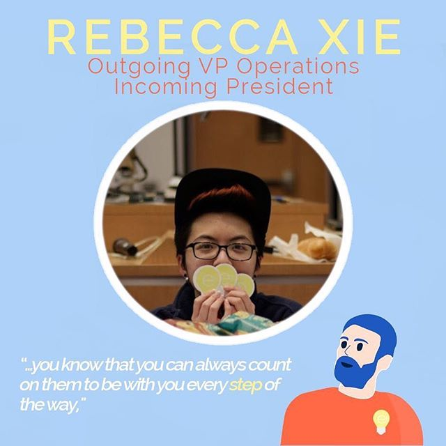 """💡APPLICATIONS CLOSE TONIGHT💡 ✏️ Rebecca Xie 💡Outgoing VP Operations 💛 Incoming President 🚀 """"If the eProjects team isn't the picture-perfect definition of what it means to be an innovator by day and a party animal by night, then I'm not sure what is.  eProjects is all about having a blast with innovation – and in order to instill that into others, it's something that we live by as a team. This year has been full of taking initiative and experimenting with tons of new event ideas and concepts, which of course comes with countless hiccups and bumps along the way. But what's so special about the eProjects team is the unconditional love, enthusiasm, and optimism that keeps us so close together, and you know that you can always count on them to be with you every step of the way and make even the most stressful 3am's fun and full of laughter 🌈  This team is one that will always give it their all. When we're here to get things done, we get things done. When we're here to have fun, we really know how to have fun. I'm thankful to have been a part of such a loving, optimistic, ambitious, and fun-loving team of lightbulbs, and I'm so excited for us to continue building onto everything we've learned and everything that we've started this year as a team 💛"""" 🚀  Favourite moment?😯 """"Instigating a spontaneous karaoke session inside a lecture hall after one of our events whilst blasting guilty pleasure songs for all of Hennings to hear – don't worry, it was a weekend."""""""
