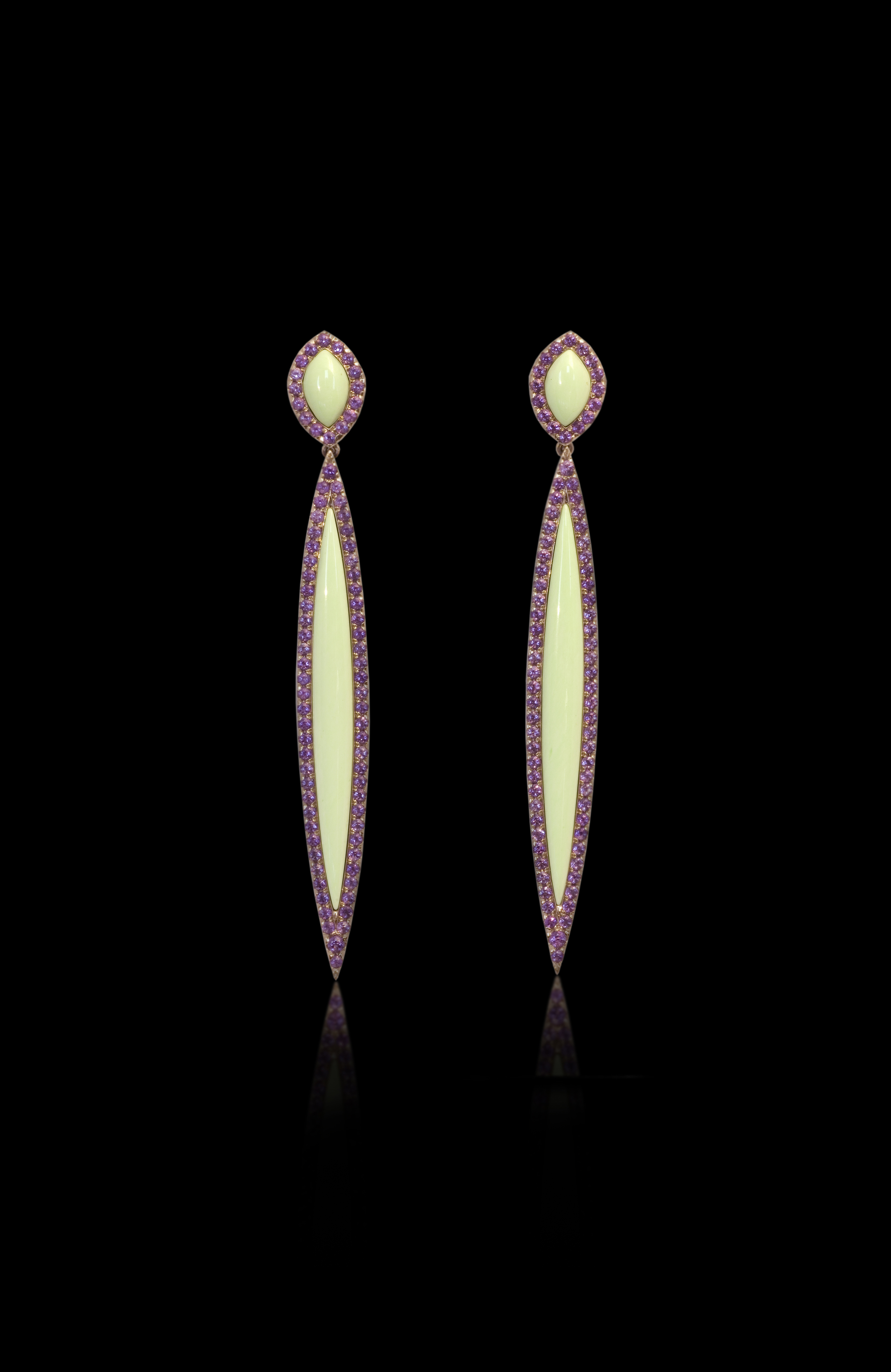 Colorful Princess   Color nourishes deeply emotions that cannot be ignored.    Earrings in 18 karat Yellow Gold, with Amethyst and lemon Chrysophrase      $4,500