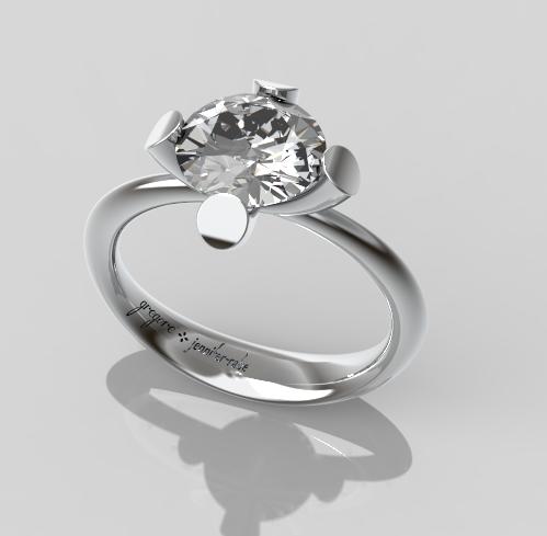 Diamond Engagement Ring in Platinum or White Gold