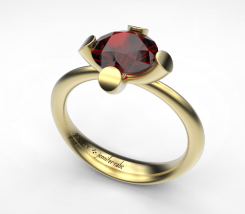 Ruby Engagement Ring in Yellow Gold