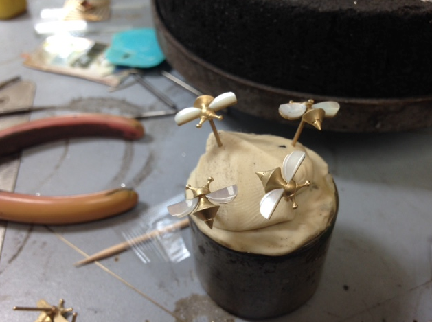 More Bee earrings , working towards a whole hive of them