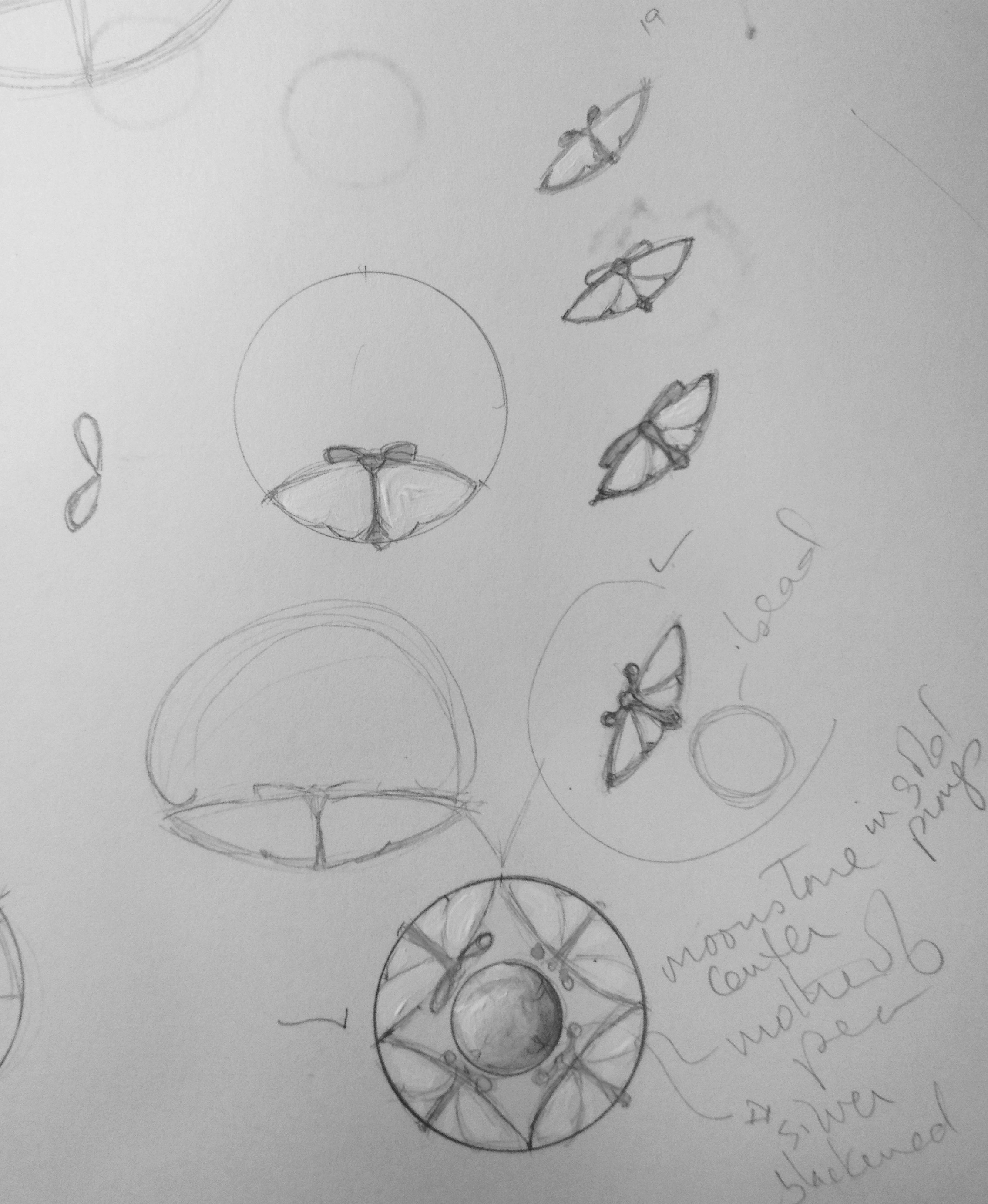 Some of the later drawings when I hone in on the shape of the preferred butterfly.  Gregore and Jennifer-rabe Jewelers in Santa Barbara, CA
