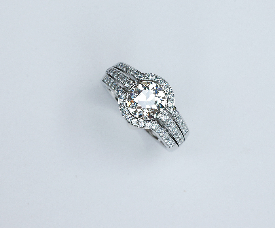 Platinum and diamond engagement ring top view