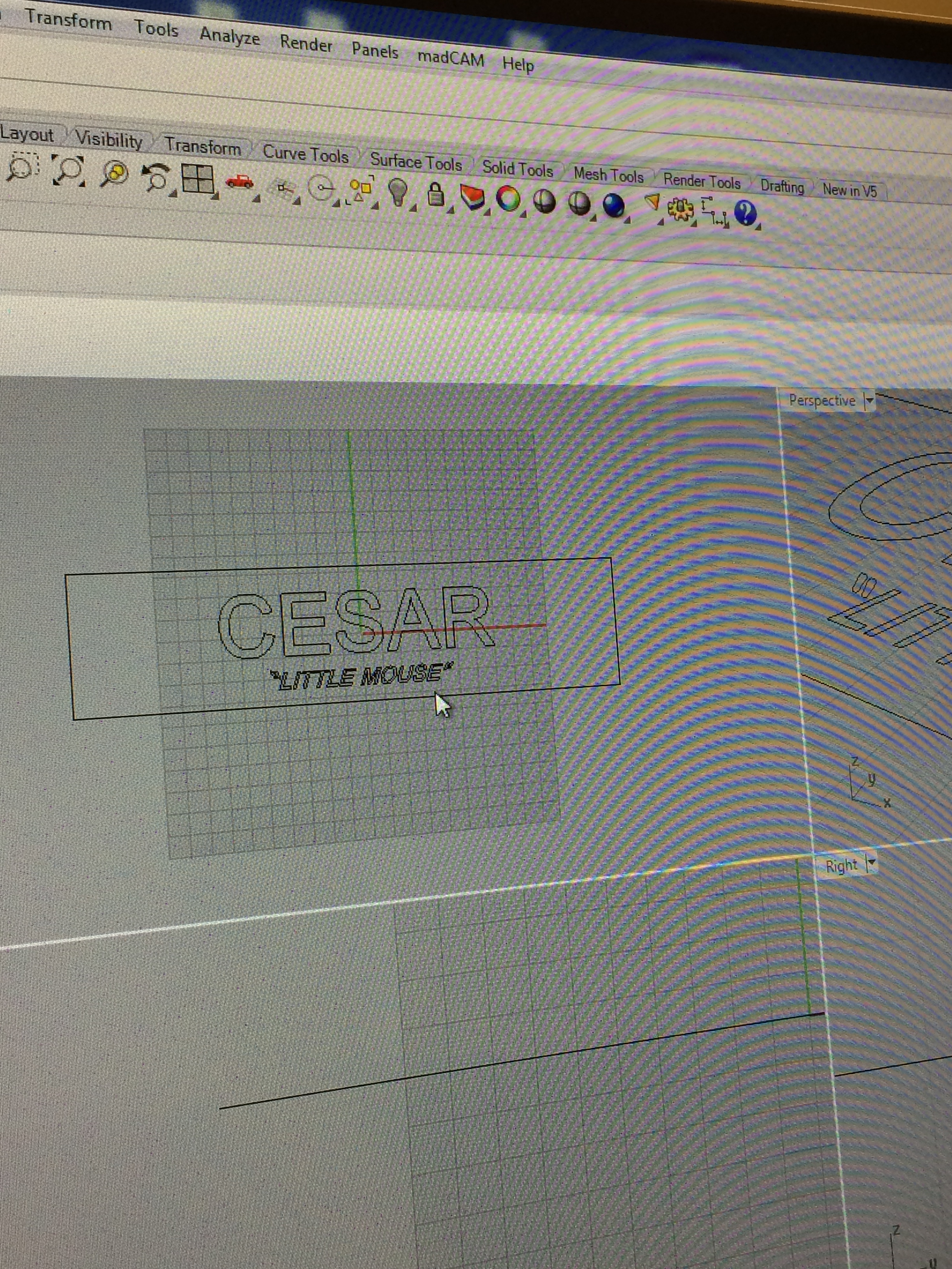 The CAD image of Cesar's inscription