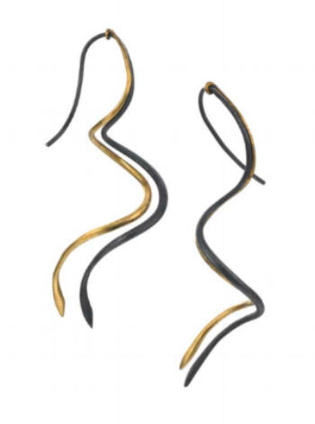 Rhythm project by Gregore  Blackened Sterling silver and Gold Earrings