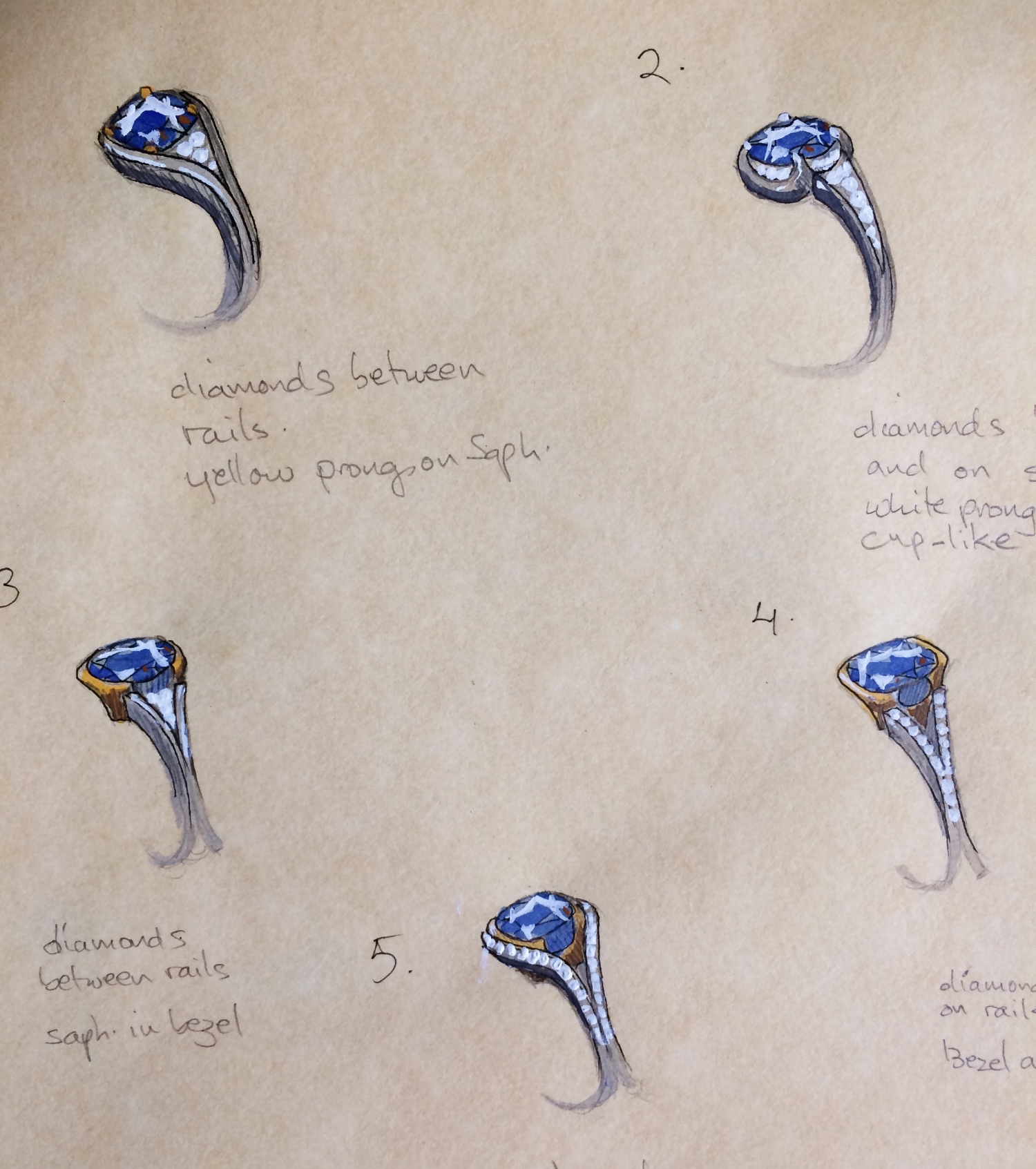 Initial drawings for an engagement ring