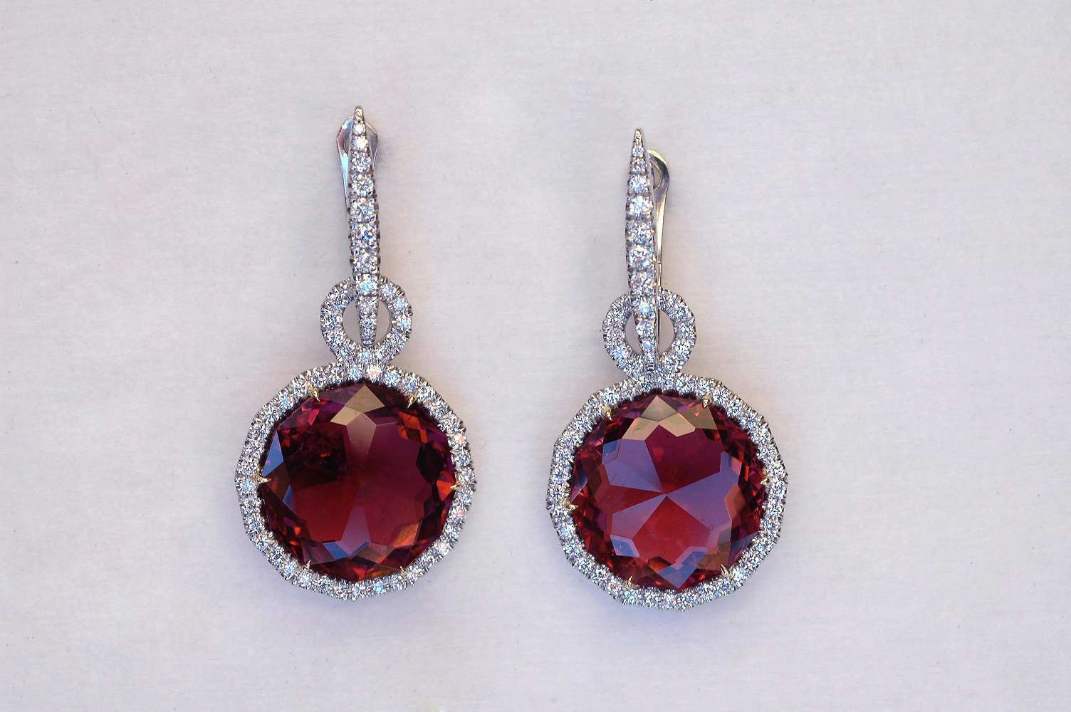 platinum and diamond earrings with detachable tourmaline briolettes