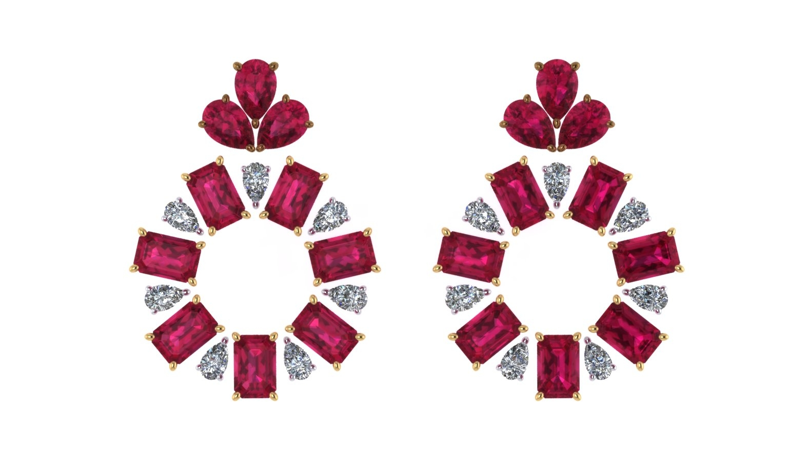 I used the customer's standard sized rubies and diamonds to create stone layouts only not finished jewelry images