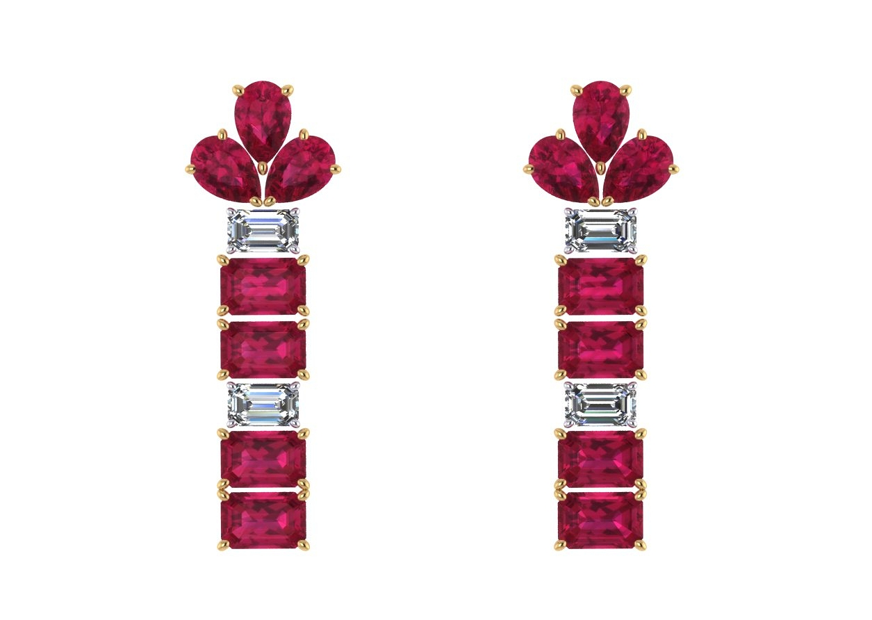 I threw in some pear shapes the customer already owned and the asked for emerald cut Madagascar rubies and diamonds  the pattern is two to one