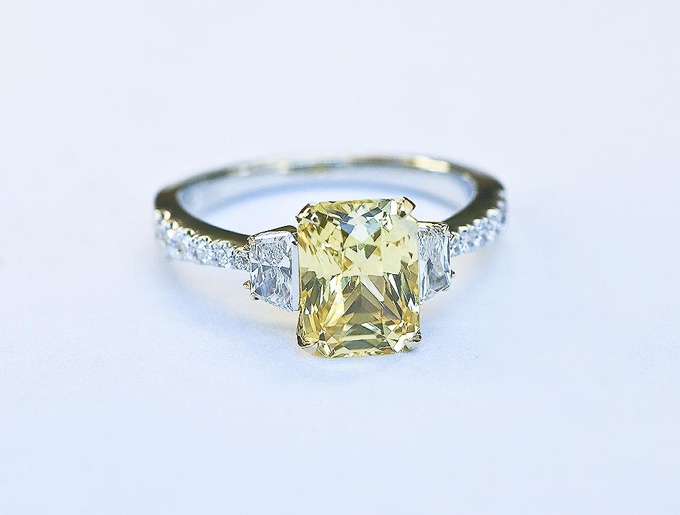 yellow sapphire, diamond, yellow gold and platinum engagement ring