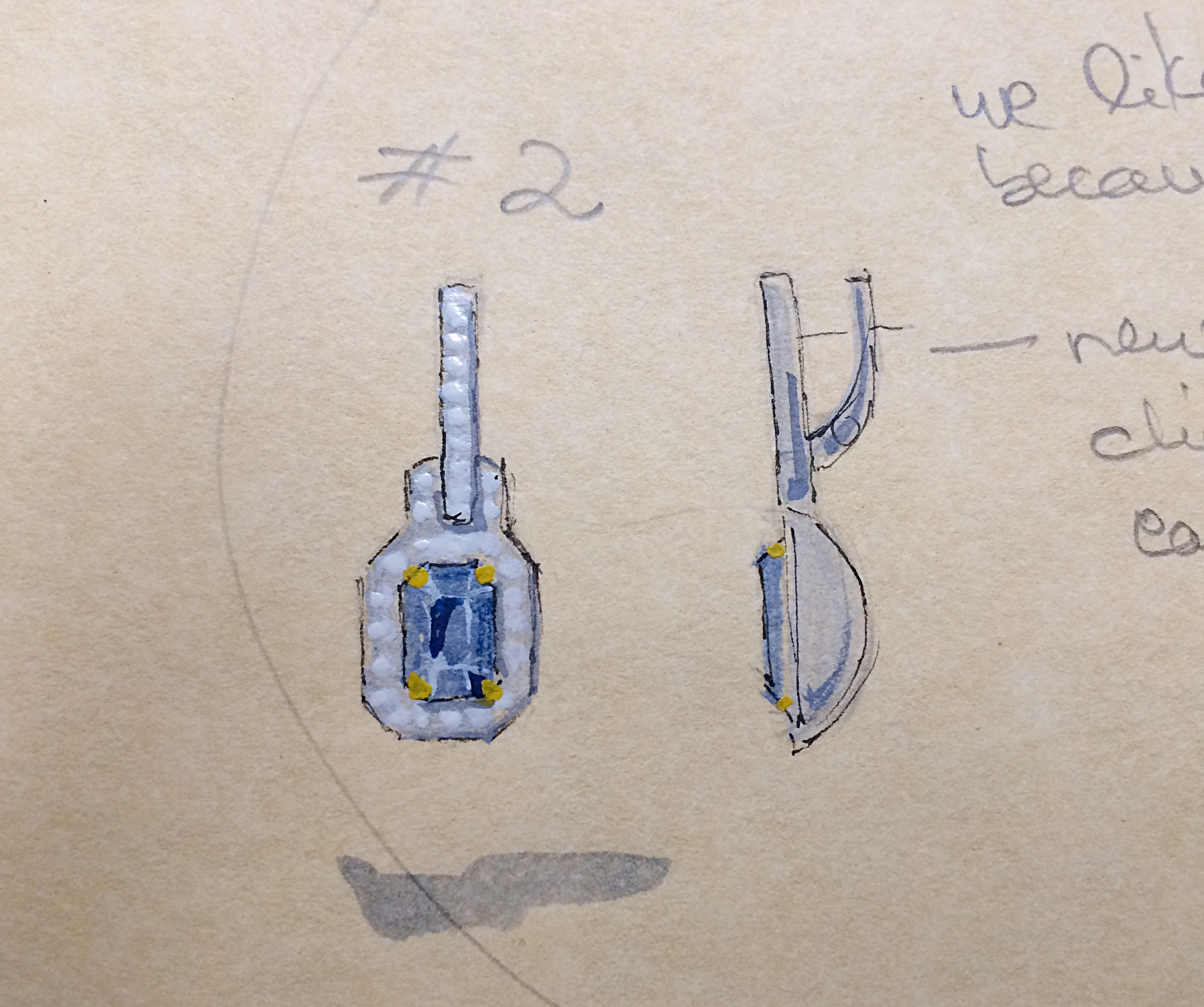 Drawing and watercolor with notes of emerald-cut Sapphire earrings
