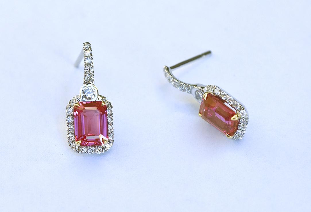 Platinum diamond and Emerald-Cut Ruby Earrings