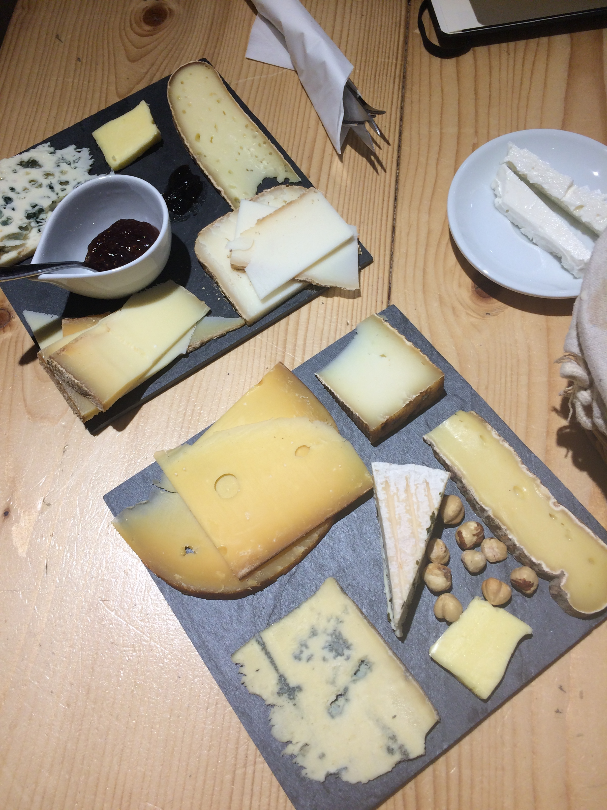 Cheese tasting with 10 cheeses, fig jam, french butter and hazelnuts, baguette and wine! Yum.