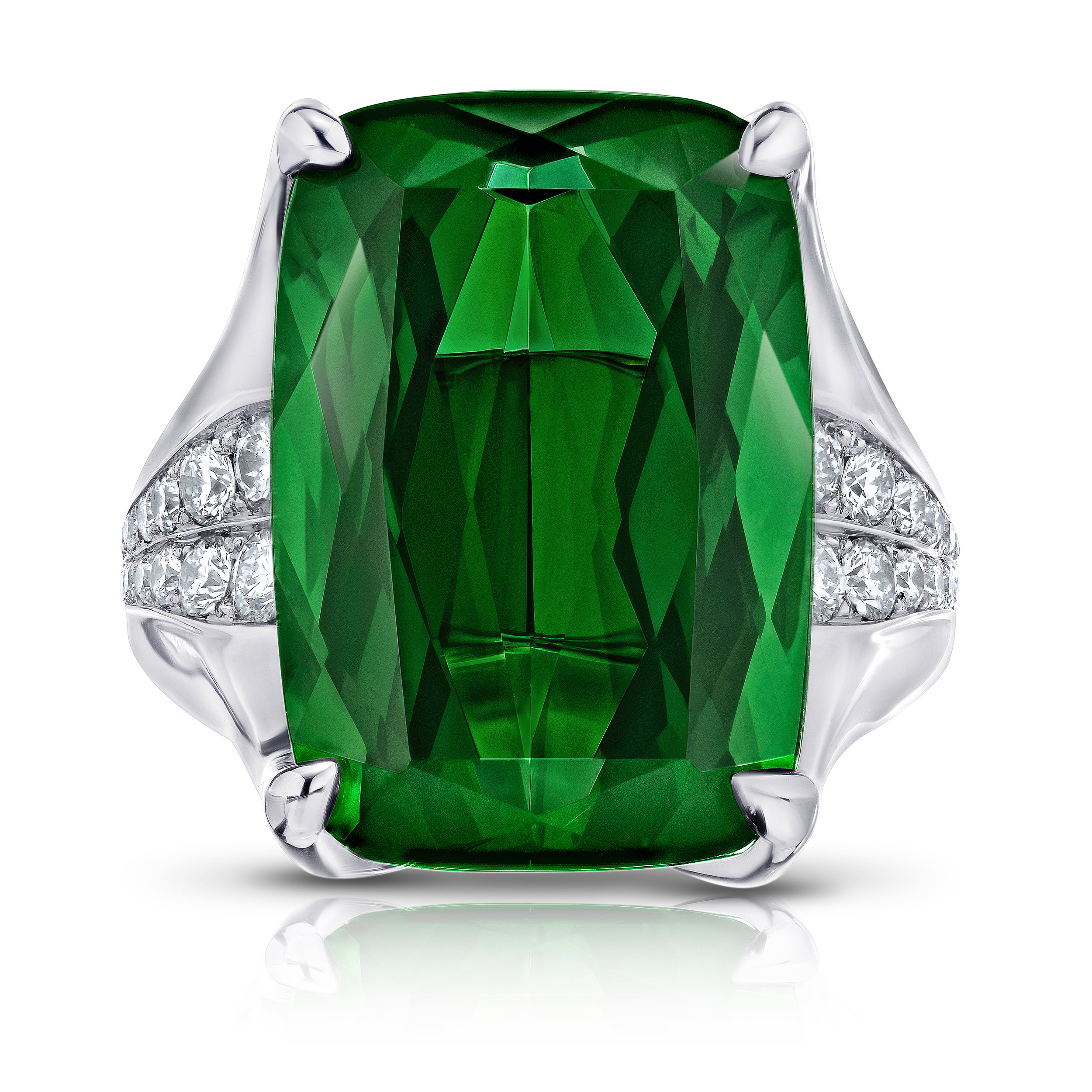 custom engagement ring, tourmaline, diamond, platinum