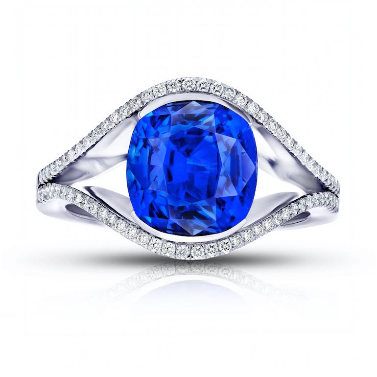engagement ring Santa Barbara blue sapphire, diamond and platinum