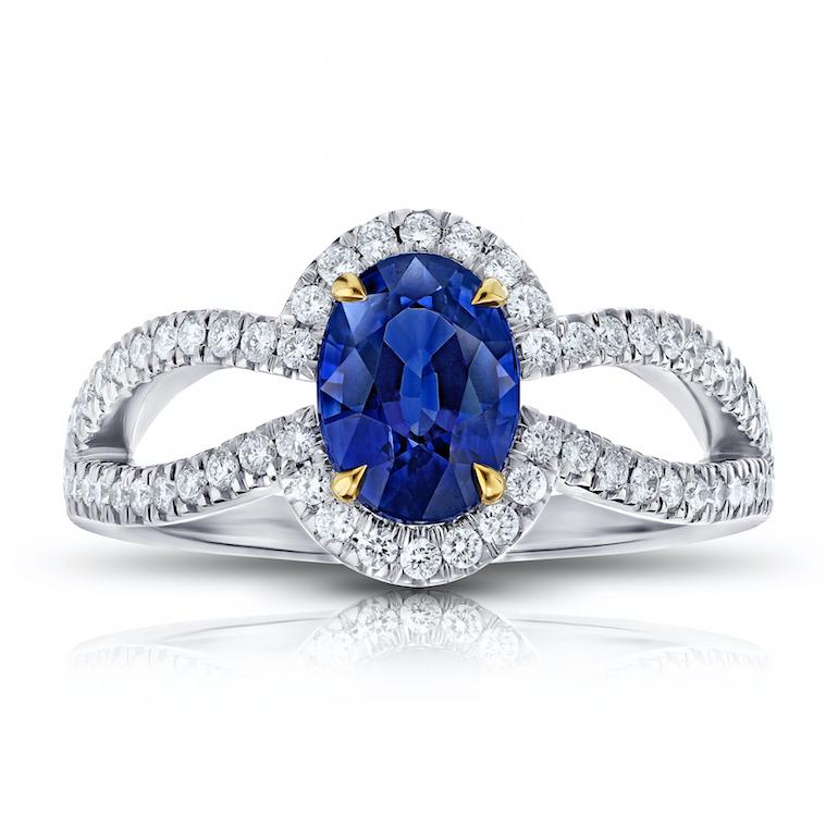 custom engagement ring blue sapphire, diamond, platinum and 18 k
