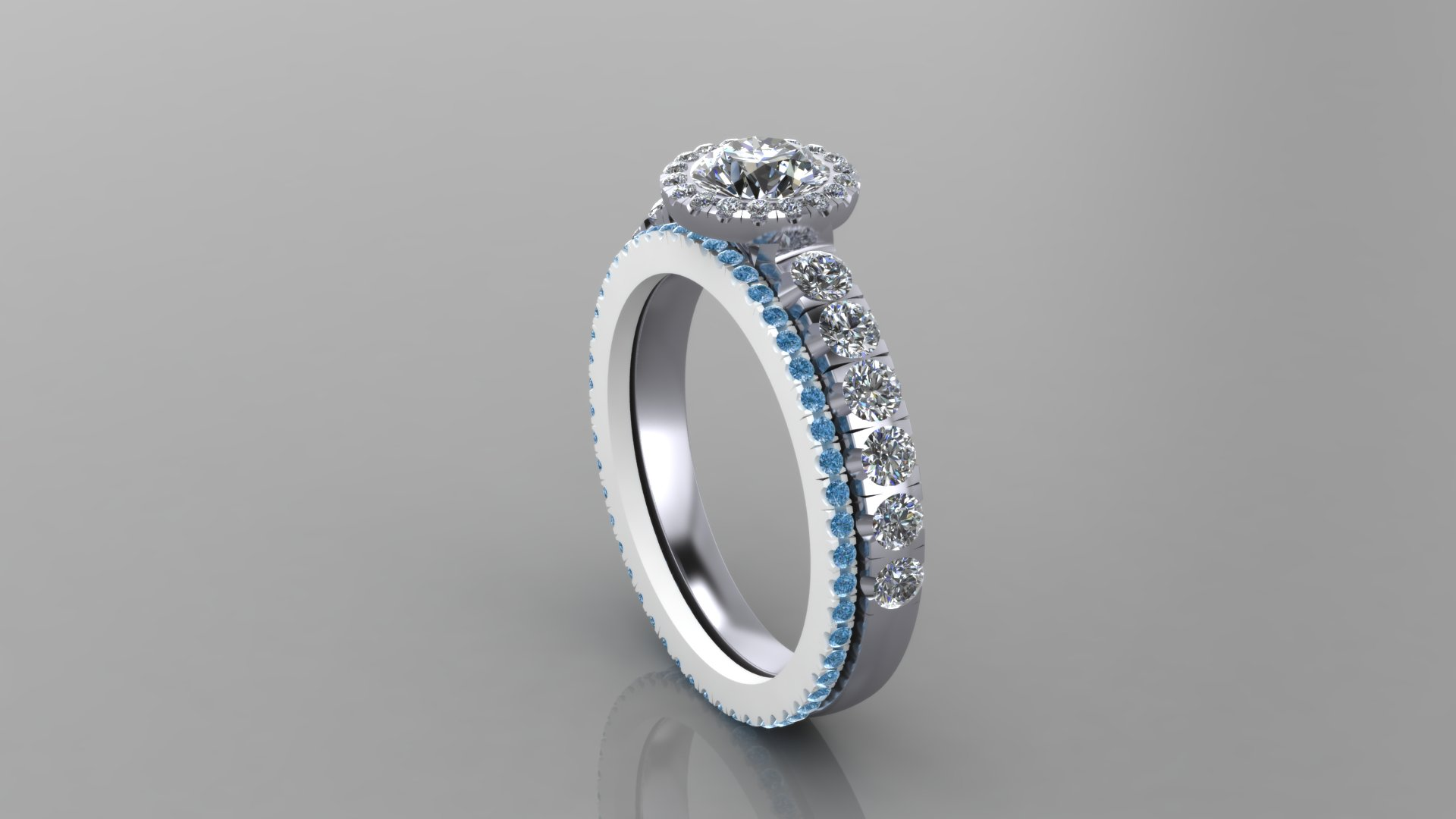 CAD render of the platinum and diamond engagement ring with a nested eternity band