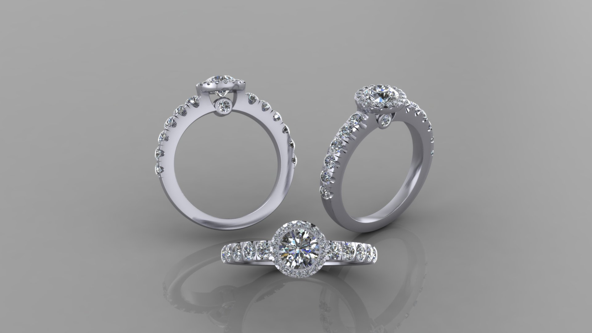 CAD render of three views of the platinum and diamond engagement ring