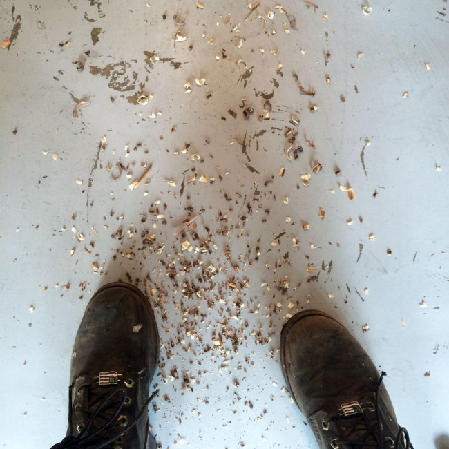 Wood Shavings and Work Boots