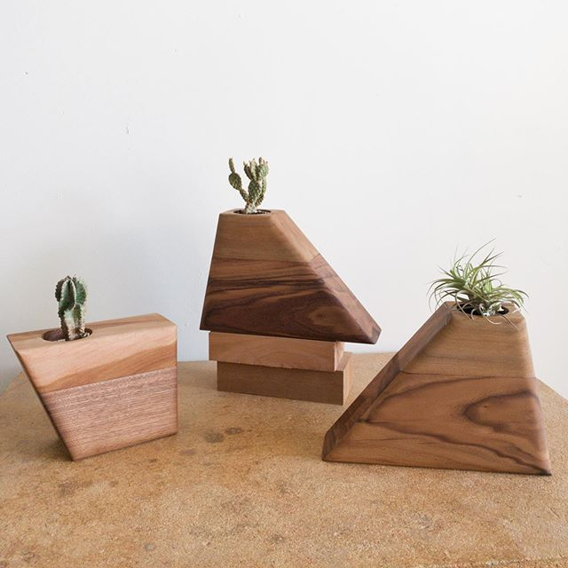 """These #Planturns are going out to a woman who is dividing her husband's cremains with her daughter and sister-in-law, which I think is such a beautiful and generous thing. The 2 mediums are milled from the same length of walnut that was re-sawn, and all 3 Sycamore tops are from the same tree, so they're all """"related""""."""