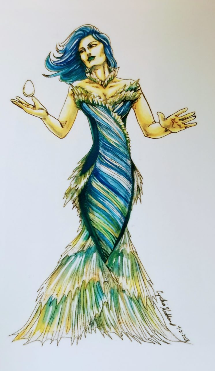 Cynthia Kirkland's Shape of Water look comes to life with a dynamic pose in her illustration from 2018. Cynthia uses ink and watercolor.