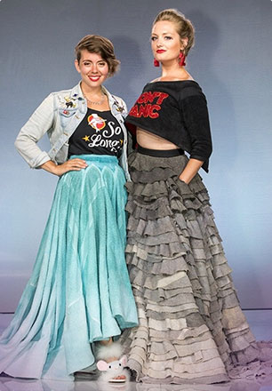 2017 Audience Choice winner Grace DuVal and her Hitchhiker's Guide inspired dress made from recycled gym towels.