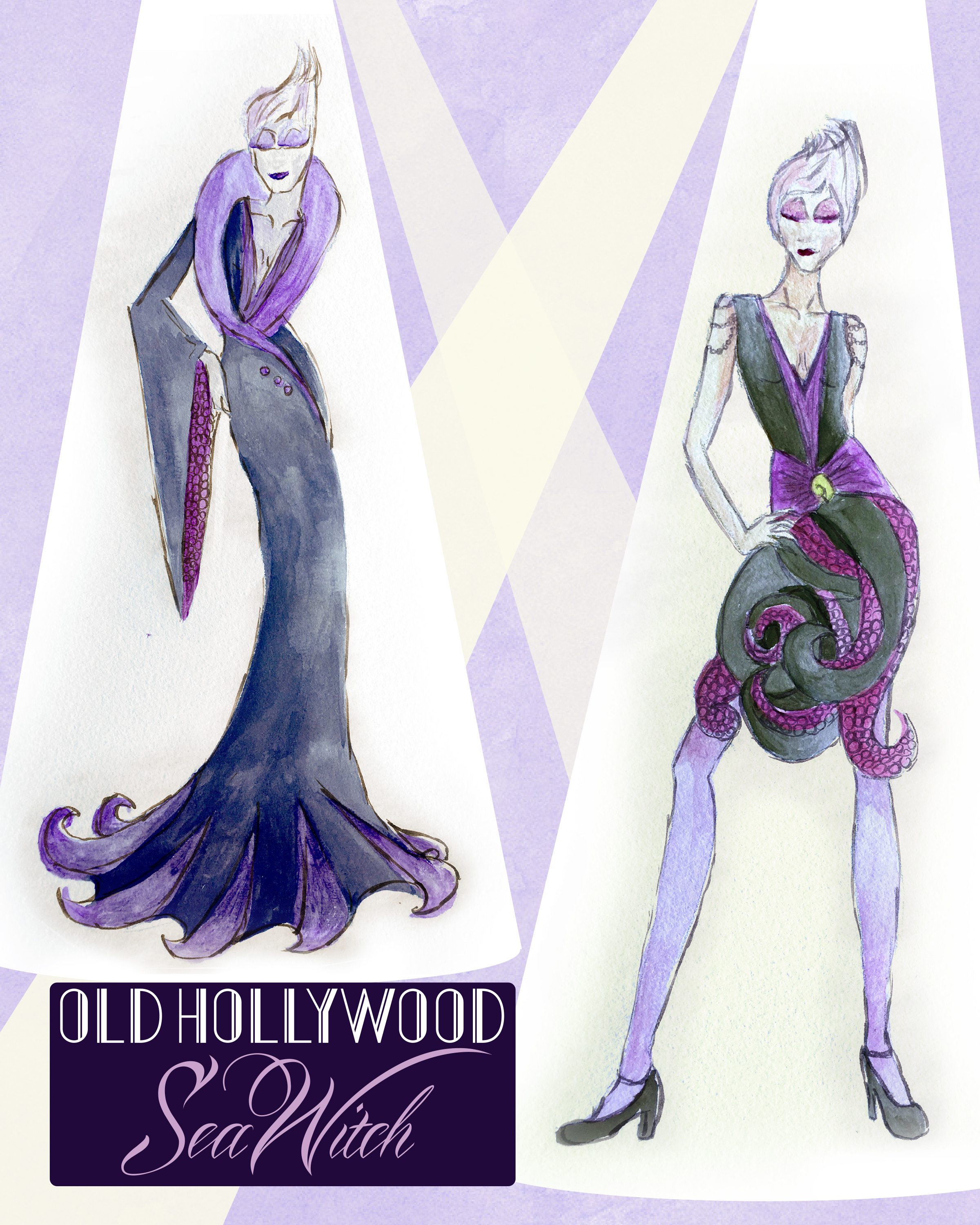 My 2016 Rejected design, Old Hollywood Sea Witch inspired by The Little Mermaid