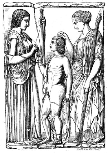 """Great Eleusinian Stele"" of Demeter, Triptolemus, and Persephone (c. 440 BC). From the original Pentalic marble, 86 x 59 inches. Discovered at Eleusis in 1859, now at the National Archaeological Museum, Athens Otto Seemann, Grekernas och romanes mytologi (1881)."