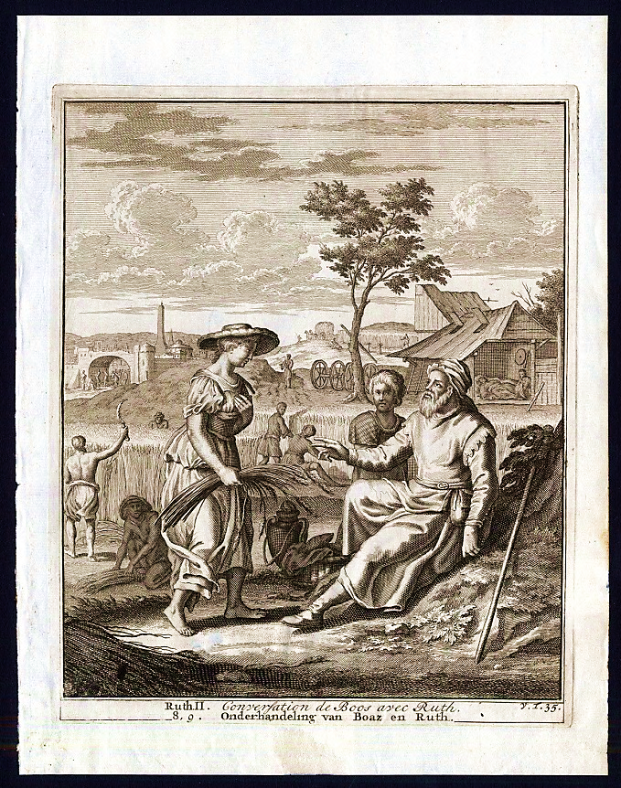 Early Modern Woodcuts of Ruth and Boaz;   Left to right: Gerard de Jode (1585); Mattias Scheits and François Halma (1710);   Palouse Regional Studies Collection