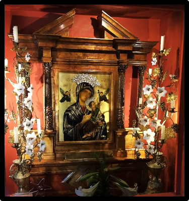 Our Mother of Perpetual Help Icon with Grain Stalk and Grape Cluster Candelabras (c. 1850); Mission San Carlos Borromeo near Carmel, California