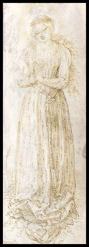 "Albrecht Dürer, ""Mary in [Grain] Ear Dress"" (c. 1515)  Randzeichnungen zum Gebetbuche des Kaisers Maximilian I (Munich, 1907)"