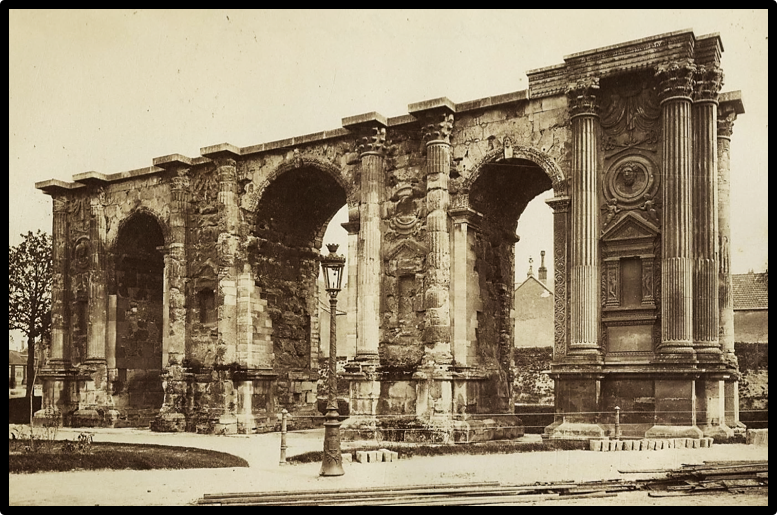 Porte de Mars (Mars Gate), Reims (c. 3rd Century AD);   Albumen print, 8 ¼ x 10 ⅗ inches (c. 1880);   Palouse Regional Studies Collection