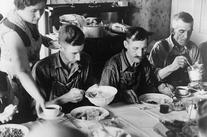 Ben Shahn,  Harvest Dinner  (1938);   Black and white nitrate film negatives, 35 mm;   Farm Security Administration Collection, Prints and Photographs Division, Library of Congress